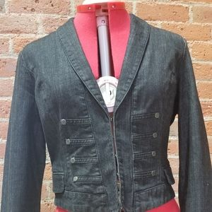 New York & Company black denim fitted jacket